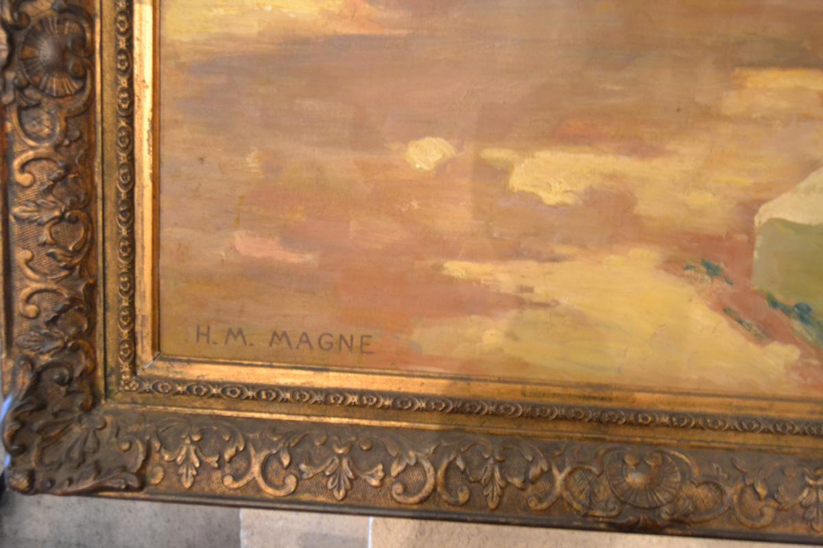 Large Oil On Canvas Of Henri Magne-marcel