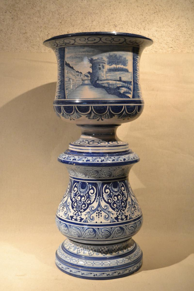 Cache Pot And The Column In De Nevers Earthenware, XIXth