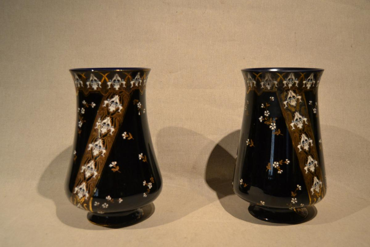 """Pair Of Vases """"luneville"""" Nineteenth"""