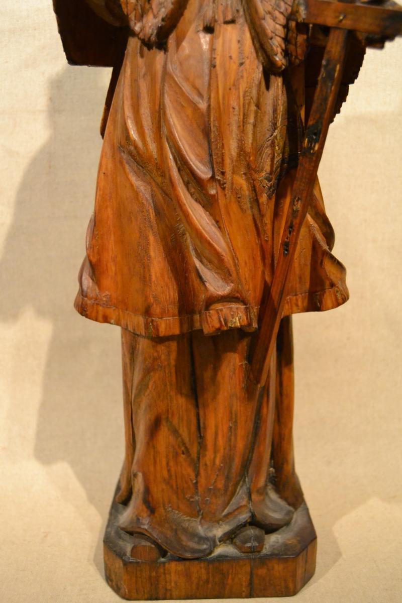 Saint Jean Népomucène En Bois Sculpté, XVIIIe Siècle-photo-3