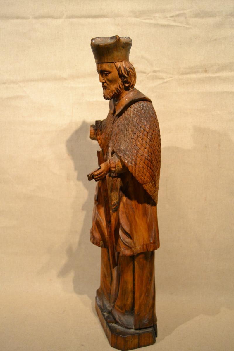 Saint Jean Népomucène En Bois Sculpté, XVIIIe Siècle-photo-4