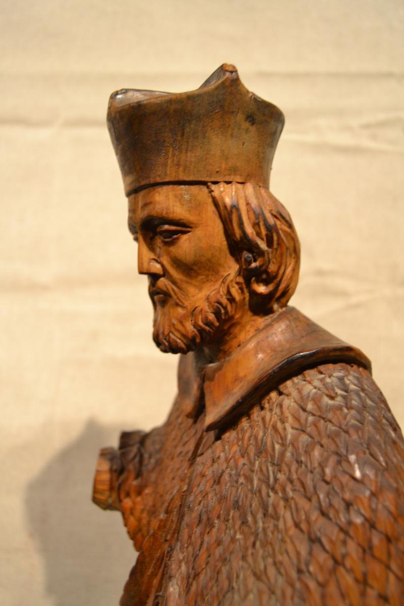 Saint Jean Népomucène En Bois Sculpté, XVIIIe Siècle-photo-1