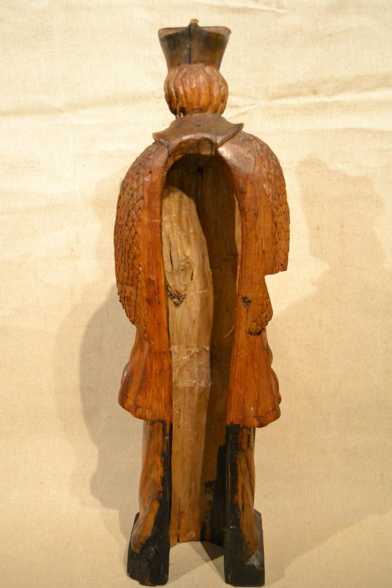 Saint Jean Népomucène En Bois Sculpté, XVIIIe Siècle-photo-2