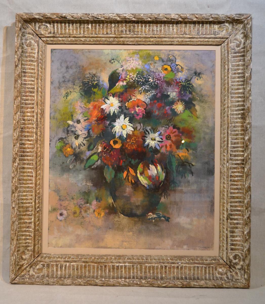 """Paul-elie Gernez (1888-1948), Pastel """"bouquet De Fleurs"""", 1925"""