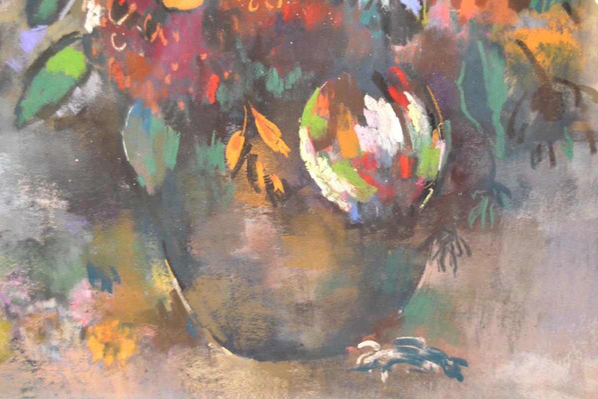 """Paul-elie Gernez (1888-1948), Pastel """"bouquet De Fleurs"""", 1925-photo-2"""