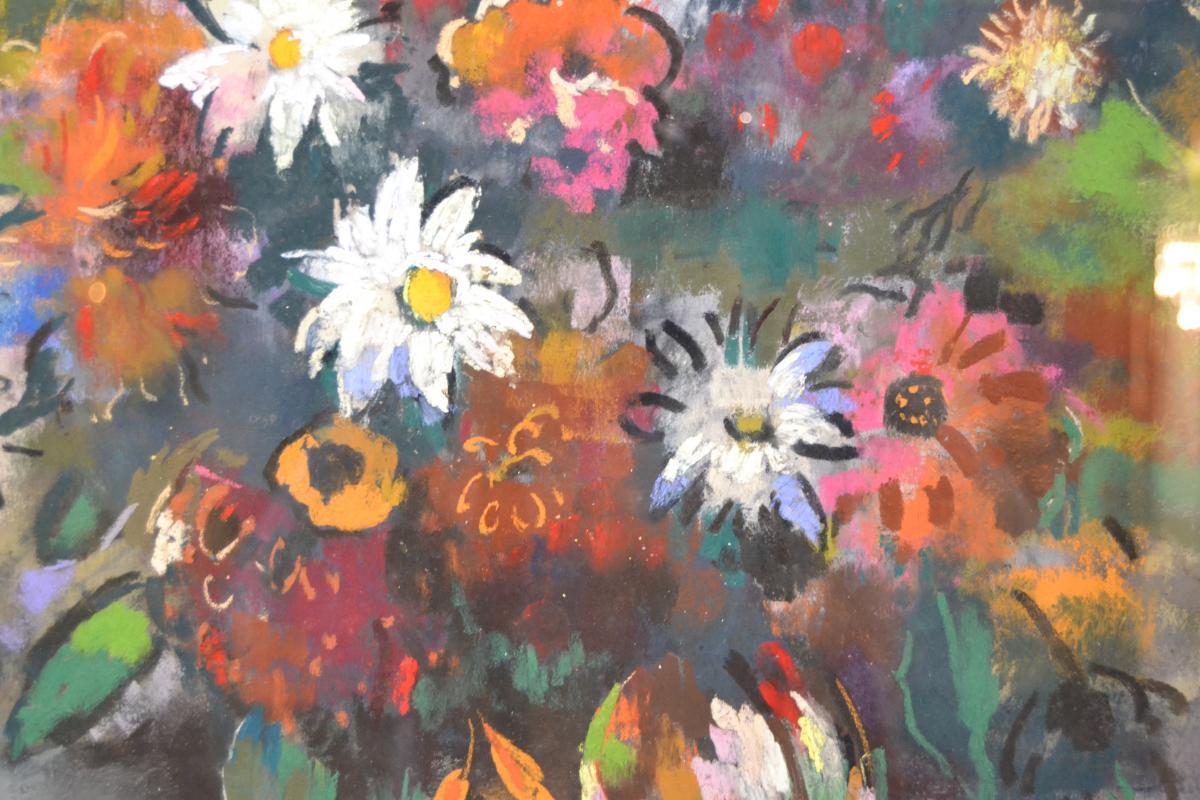 """Paul-elie Gernez (1888-1948), Pastel """"bouquet De Fleurs"""", 1925-photo-3"""