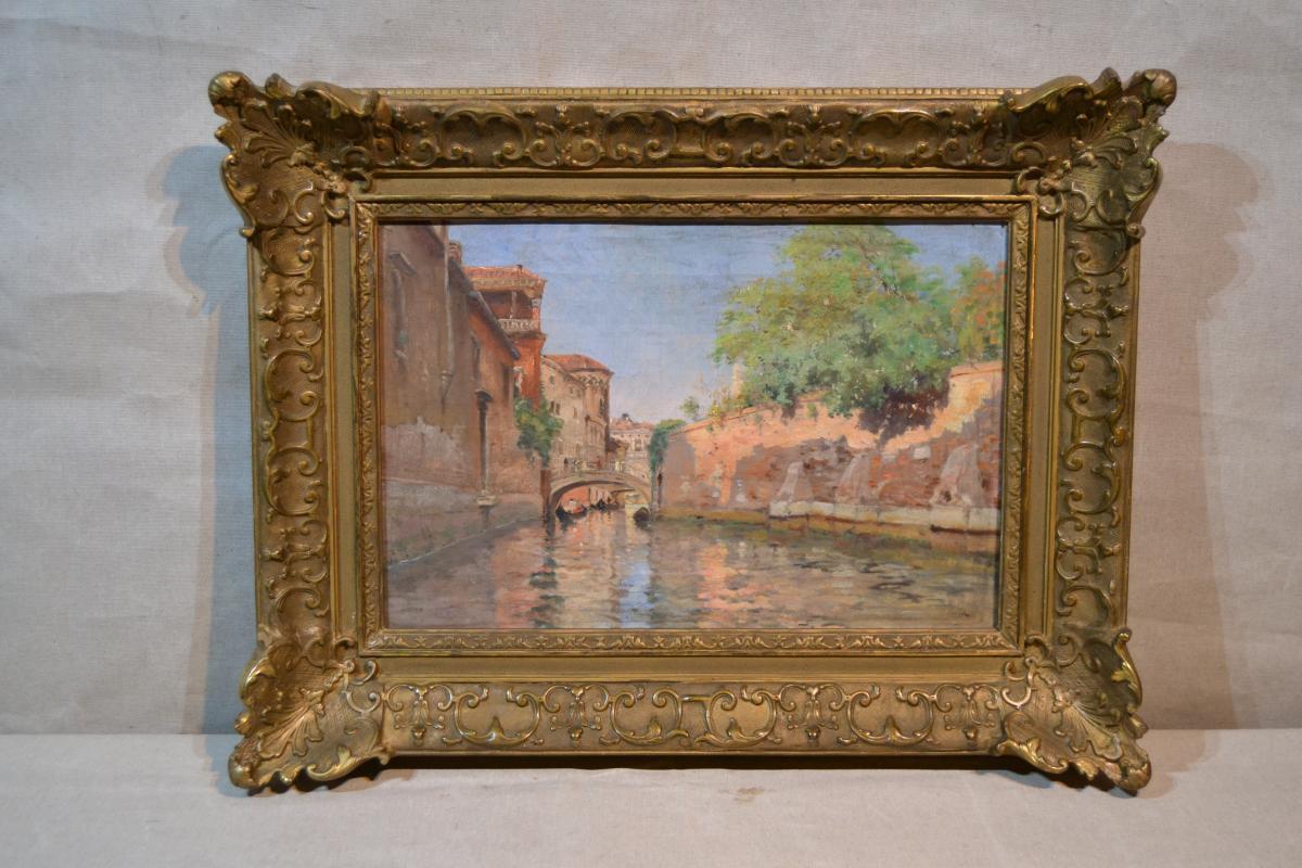 """Jonh M. August Will (1834-1910), Hst """"rio Della Salute"""", XIXe"""