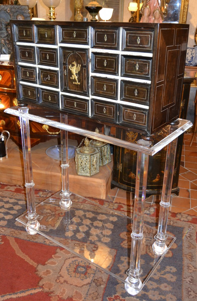 Cabinet In Rosewood And Bones XVIIth Century And Altuglas Leg XXth