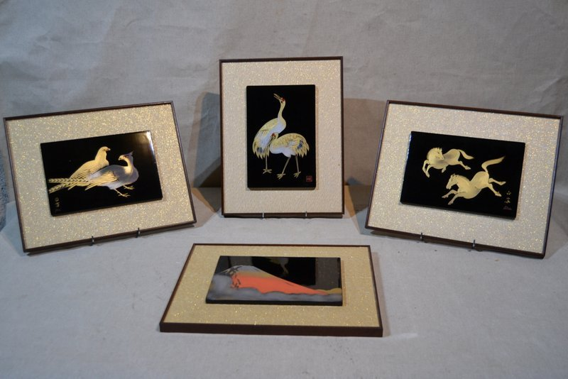 Series Of 4 Panels Lacquered Black, Gold And Silver, Signed, Japan 1960