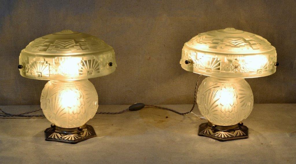 Muller Frères - Lunéville, Pair Of Art Deco Lamps.