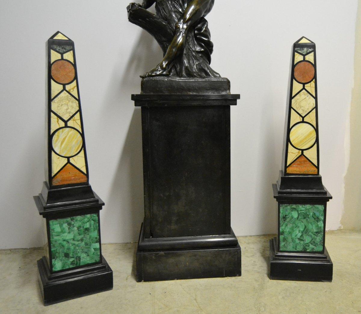 Grande Paire d'Obélisques En Marbre, XIXe