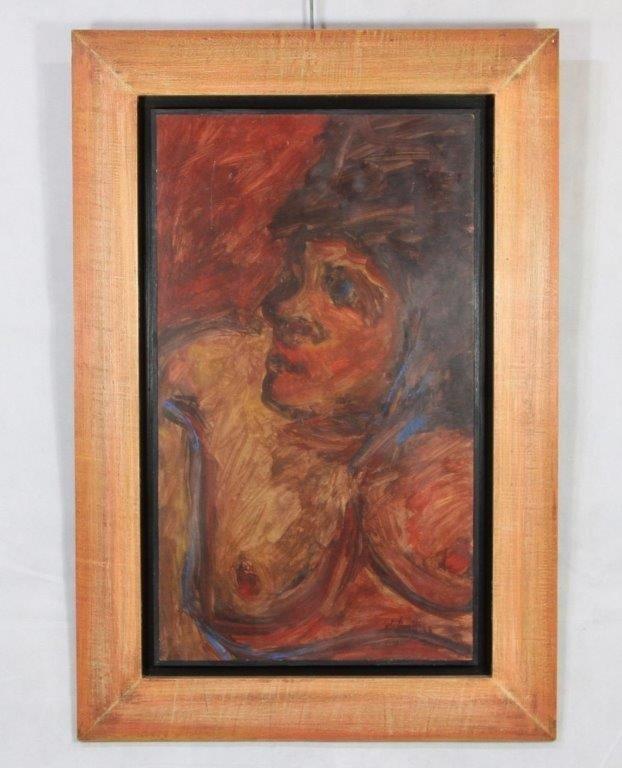 """Tableau Huile sur isorel """"femme aux seins nue"""", XXe"""