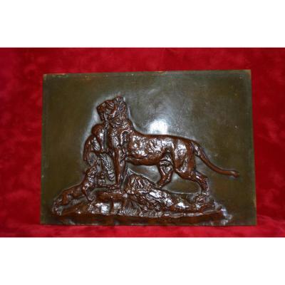 Bronze Bas Relief Signé A.cain