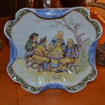 Earthenware Dish Porquier And Beautiful, XIX Eme