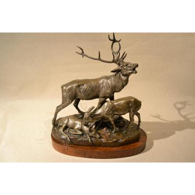 "Bronze ""cerf, Biche Et Faon""signé Clovis Masson 1838-1913"