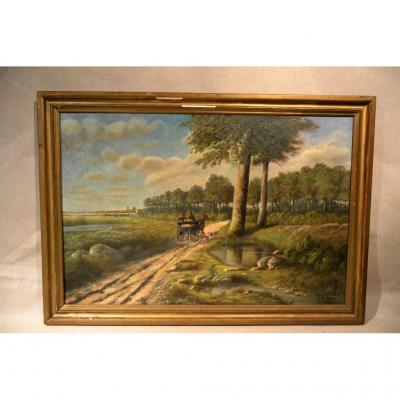 """Hst Landscape """"the Carriage"""" Signed A.bertheau 1899"""