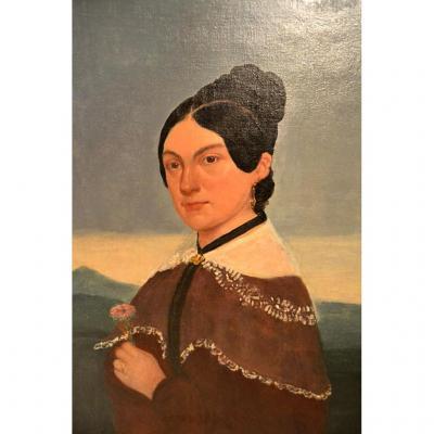 Grand Portrait  Hst De Femme, Signé Dumeis, 1886