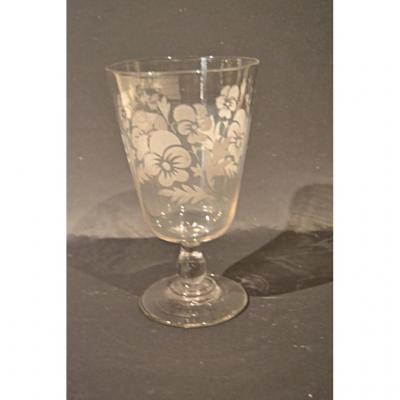 Grand verre De Mariage, Décor De Fleurs, XIXe