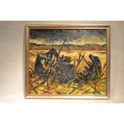 Robert J Delcourt(1926-2008), L'épave, datée 1957