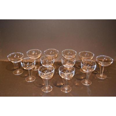 Glasses In Crystal De Sevres 12 Parts, Twentieth