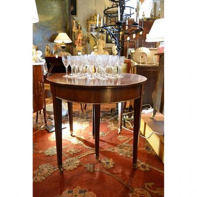 Table à Bandeau En Acajou + 2 Allonges, XVIIIe