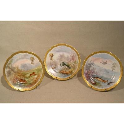 "Serie De Porcelain Plates 3 ""hunting And Fishing"" XIX"