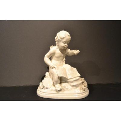 """Sculpture """"cherub In The Music"""", L.badessi, Capo Di Monte"""