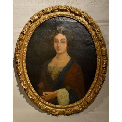 """Hst Portrait """" Jeune Fille à l'Oeillet """", époque XVIIe"""
