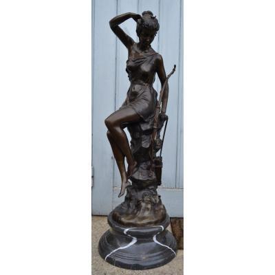 """Bronze """"diane Chasseresse"""",lucie Signoret-ledieu, XIXe"""