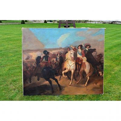 """Grande Peinture Hst """" La Bataille"""", Signé, XIXe"""