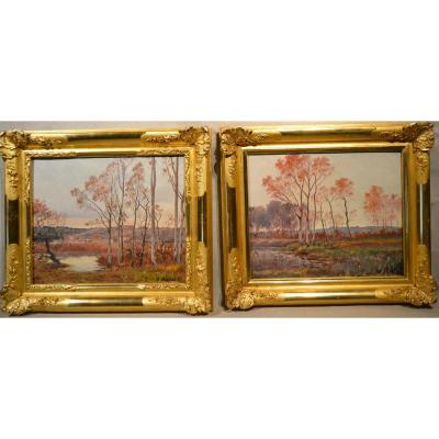 Pair Hst Painting, Signed Jean-baptiste Brunel, 1895