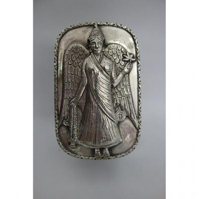 "Large Silver Box ""winged Woman"", XIXth"