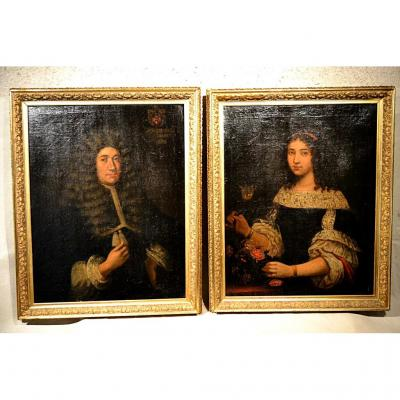 Pair Of Portraits, Ep. Louis XIV, Dated 1668