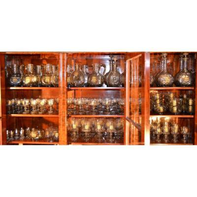 Important Service de verres (128p), Travail Allemand Du XIXe