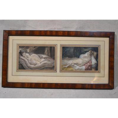 "Pair Of Drawings Watercolor ""women Lying"", Nineteenth"