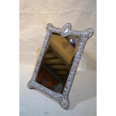 Angleterre XIXe, Miroir De Table En Argent