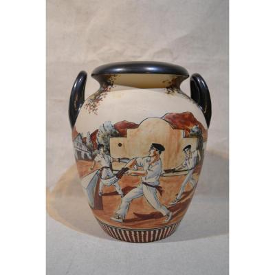 Ciboure XXe, Vase En Grès, Signé R Le Corrone