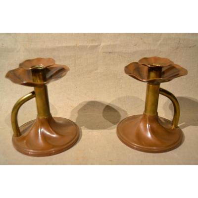 Was Benson (attributed), Pair Of Copper And Brass Candlesticks, 1900