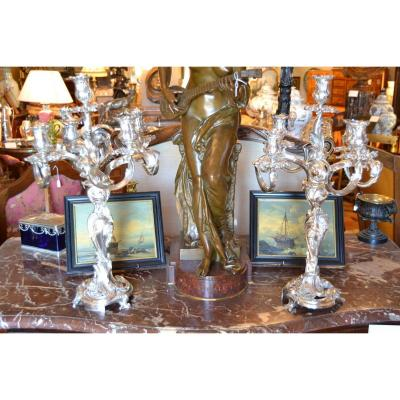 Pair Of Candelabra Bronze Silver, Louis XV Style, Nineteenth
