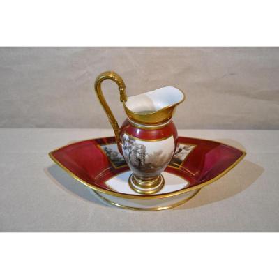 Ewer And Its Porcelain Basin, Signed, Nineteenth