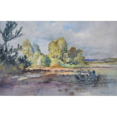 """Pierre Dimanche (1919-1986), Aquarelle """" la Loire à Meung sur Loire"""""""