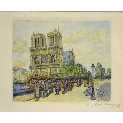"""Joseph-Victor ROUX-CHAMPION (1871-1953), """"Notre-Dame de Paris"""", XXe"""