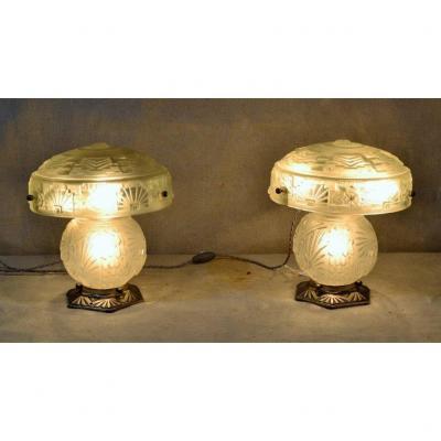 Muller Frères - Lunéville, Paire De Lampes Art Déco.
