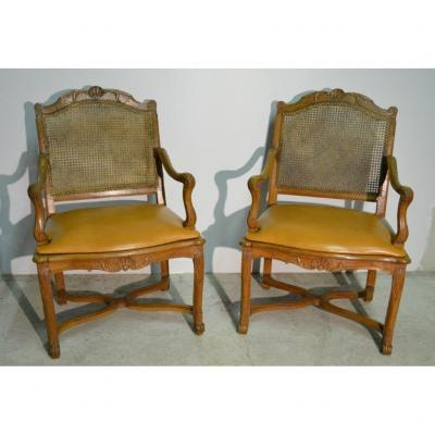 Bovo (estamp.), Pair Of Regency Period Armchairs With Cane Bottom, 18th C.