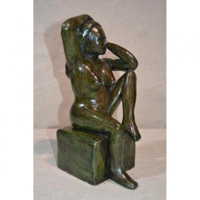 R.p (xxe), Sculpture Femme Nue Assise.