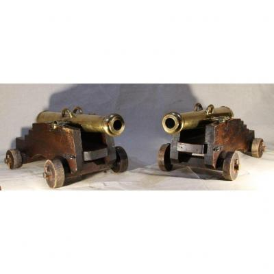 Large Pair Of Bronze Cannons, Nineteenth