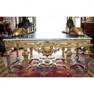 Important Louis XIV Style Middle Table In Golden Wood, 20th Century