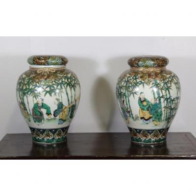 Paire De Grand Pots à Gimgembre, Chine Début XXe.