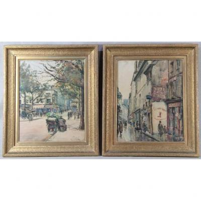 Lily Parizot (1876-?), Pair Of Watercolor / Charcoal, Signed And Dated 1928
