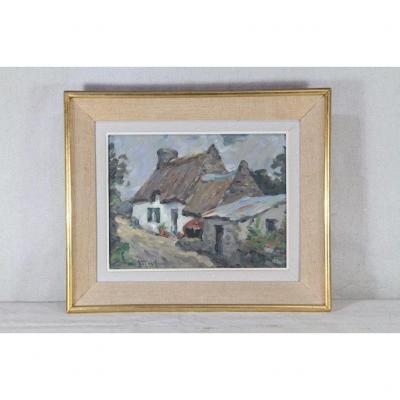 "Jean Louis Letoullec (1908-1999), ""breton Cottage"" 20th Century"